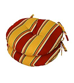 Greendale Home Fashions Set of Two Carnival Stripe Round Outdoor Bistro Chair Cushion