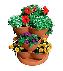 3 Tier Stack-A-Pot Clay Stackable Planter
