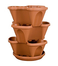 Clay Colored Resin Stackable Planter