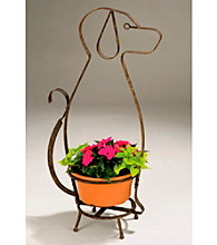 Whimsical Metal Dog Planter Holder