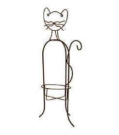 Whimsical Metal Cat Planter Holder