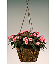 """16"""" Metal Hanging Basket with Diamond Shaped Accents and Coco Liner"""