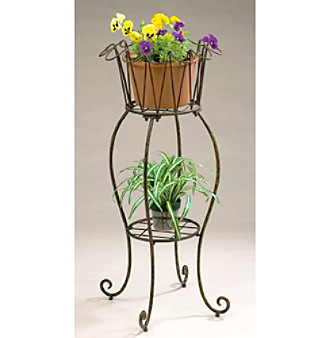 "16"" Metal Tall Round Wave Planter"