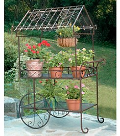 Large Rolling Metal Flower Cart