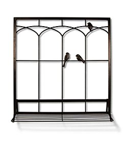 Dark Bronze Birds in Window with Shelf