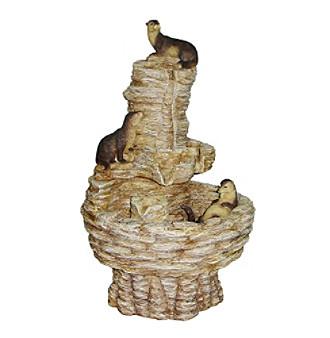 "18"" Tres Amigos Playful Otter Fountain"