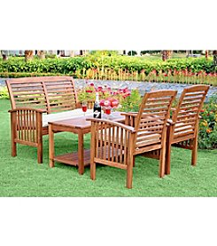 W. Designs Four Piece Acacia Wood Patio Conversation Set