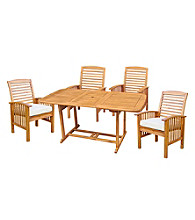 W. Designs Five Piece Acacia Wood Patio Dining Set