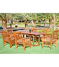 W. Designs Seven Piece Acacia Wood Patio Dining Set