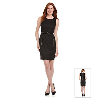 Anne Klein® Black Honeycomb Belted Sheath Dress with Exposed Zippers