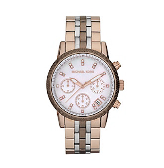 Michael Kors® Stainless Steel with Shiny MK Espresso Finish Watch