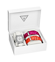 GUESS Silver Watch with Two Interchangeable Leather Bands
