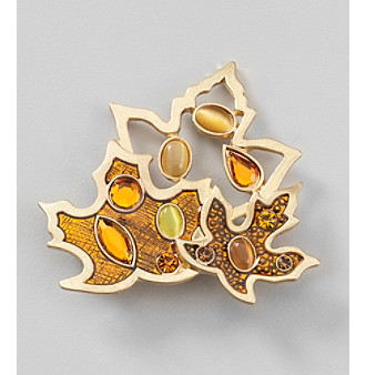 Studio Works® Pin W/Goldtone Leaf W/Orange Textured Overlay And Beaded Detail
