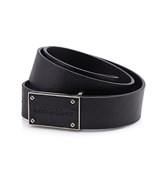 Calvin Klein Men's Black Leather Belt with Plaque Buckle