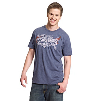 "Junk Food® Men's Blue ""Budweiser Map"" Vintage Graphic Tee"