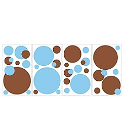 Blue and Brown Dots Peel and Stick Wall Decals