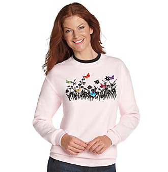Morning Sun® Pink Butterfly Field Embroidered Fleece