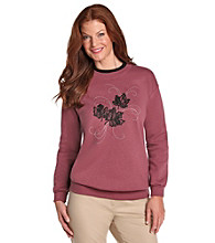 Morning Sun® Purple Lacy Leaves Embroidered Fleece