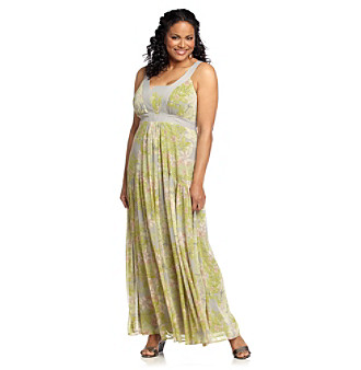Jessica Simpson Plus Size Plumeria Citron Chiffon Printed Maxi Dress