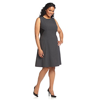 Calvin Klein Plus Size Charcoal and Black Triangle Side Colorblocked Dress