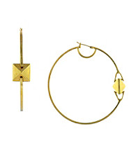 Vince Camuto™ Goldtone Pyramid Stud Hoop Earrings