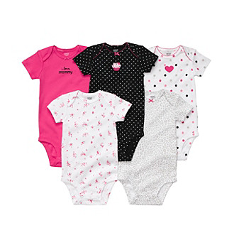 Carter's® Baby Girls' Pink/Black 5-pk. Short Sleeve Bodysuits