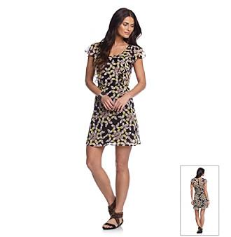 Black Rainn™ Butterfly Flutter Sleeve Print Woven Dress