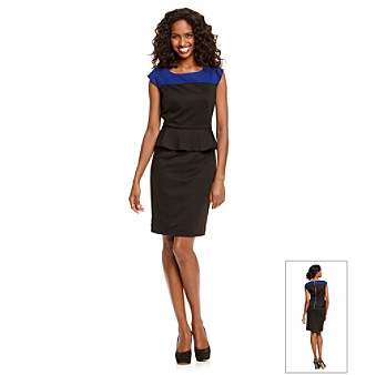 Evan-Picone® Black Peplum Colorblock Dress