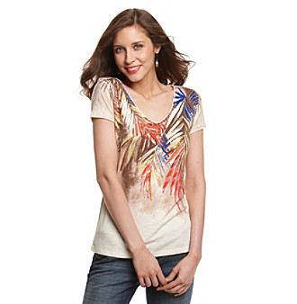 Relativity® Vanilla Cream Botanical Print Sequined Tee