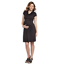 Three Seasons Maternity™ Black Solid Drapeneck Dress