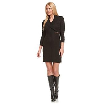 Calvin Klein Shawl Collar Sweater Dress with Buckle