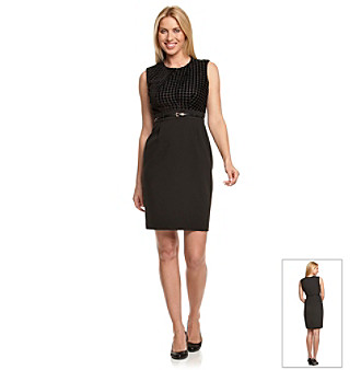 Calvin Klein Black Houndstooth Top Dress with Skinny Belt