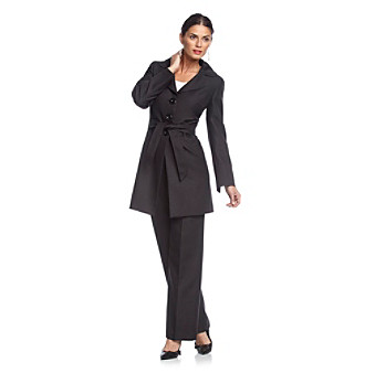 Le Suit® Black Two-Button Wide Notch Collar Herringbone Coat and Pants Suit