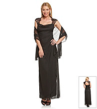 Xscape Lace Ruched Chiffon Long Dress