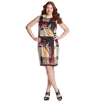 Calvin Klein Graphic Purple Multi Print Sheath with Side Ruching