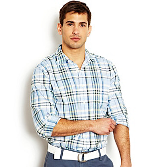 "Nautica® Men's Green Tea ""Cape Cod"" Plaid Buttondown Woven Shirt"