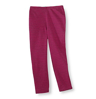 Little Miss Attitude Girls' 2T-6X Black Raspberry Striped Leggings