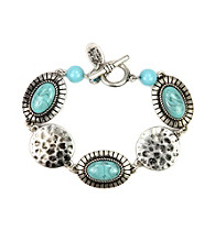 Nine West Vintage America Collection® Silvertone Turquoise Stone Bracelet