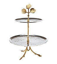 Godinger® Leaf Design Two-Tone 2-Tier Server