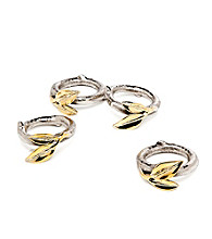Godinger® Leaf Set of 4 Two-Tone Napkin Rings
