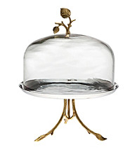 Godinger® Leaf Design Footed Plate with Glass Dome