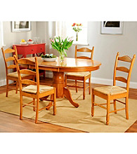 TMS 5-pc. Oak Finish Ladderback Dining Set
