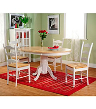 TMS 5-pc White & Natural Ladderback Dining Set