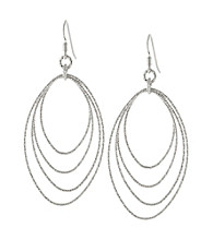 Athra Sterling Silver Multi Diamond Cut Oval Drop Earring