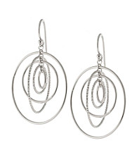 Athra Sterling Silver Multi Polished & Textured Circle Drop Earring