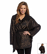 Jones New York® Black and Leopard Reversible Belted Cape Coat