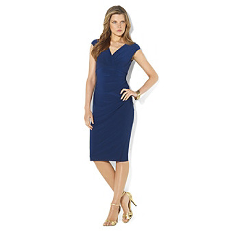 Lauren Ralph Lauren® Deep Sapphire Gathered Empire Solid Matte Jersey Dress