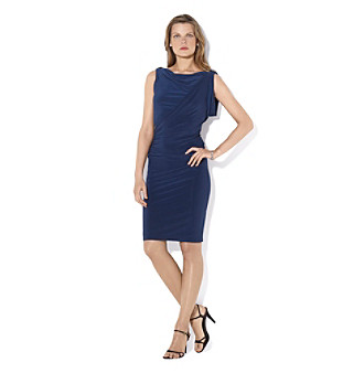 Lauren Ralph Lauren® Deep Sapphire Side Draped Cowlneck Matte Jersey Dress