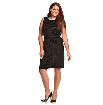 Calvin Klein Plus Size Black Houndstooth Panel Sheath Dress