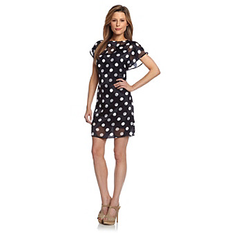 Adrianna Papell® Navy Dot Print Burnout Shift Dress